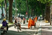 Asia City Scene,sanitation Worker, Vehicle Traffic