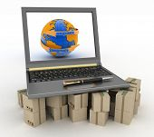 Laptop on cardboard boxes. Concept of online goods orders worldwide. 3d illustration on white background