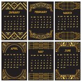 Art Deco or Gatsby Calendar 2015 - English, starts with Sunday - part 1