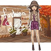 Fashion girl in stylish outfit