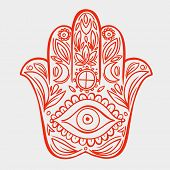 picture of hamsa  - Hamsa hand doodle symbol - JPG