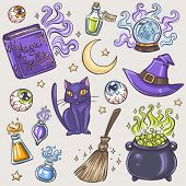 Halloween witches attributes colorful doodles set
