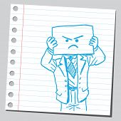 Businessman with angry face on paper