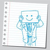 Businessman with happy face on paper
