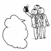 Businessmen taking selfie and  speaking