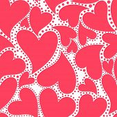 Wallpaper with red hearts for Valentines day