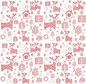 Wallpaper with red winter print