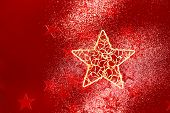 Christmas Background With Red Little Stars