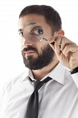 Bearded Businessman With Magnifier Glass