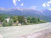 Inn river and alps, Innsbruck, Austria