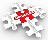 Job Satisfaction words on puzzle pieces with elements such as compensation, recognition, advancement and flexibility