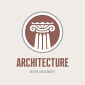 Architecture - vector logo concept. Antique column abstract sign. Architectural order.