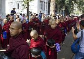 Monks In A Row: Mahagandayon Monastery. Monks, Collectively Known As The Sangha, Are Venerated Membe