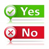 foto of yes  - Yes and no banners with check and cross symbols - JPG