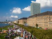 Dusseldorf, Germany - September 14, 201: Aerial View Of Crowd Of People During National Alp Holiday