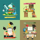 School and Education set, vector backgrounds flat design