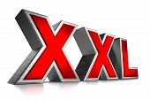foto of xxl  - Red Metallic XXL Text on White Background 3D Illustration - JPG
