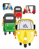 stock photo of rickshaw  - an illustration of colorful asian auto rickshaw traffic on a white background - JPG