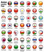 shiny web buttons with asian country flags,  illustration set