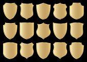 golden shield design set with various shapes, illustration
