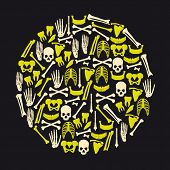 Human Bones Icons In Big Yellow Circle Eps10