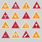 stock photo of fragile sign  - 16 color danger signs types stickers eps10 - JPG