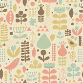 Gentle floral background with cute birds in vector. Seamless pattern can be used for wallpapers, pat