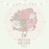 Bright bouquet made of roses in vector. Stylish wedding invitation card. Save the date card