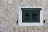 Old Window Closed Green Shutters