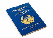 Republic Of Afghanistan Passport Isolated On White Background