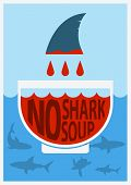 Stop Shark Finning.vector Color Poster