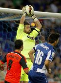BARCELONA - OCT, 5: Kiko Casilla of RCD Espanyol in action during a Spanish League match against Rea