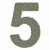 number 5 made of old and dirty microprocessors