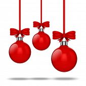 3d Chritsmas ball ornaments with red ribbon and bows on white background