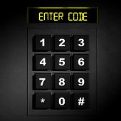 Security black numeric pad with