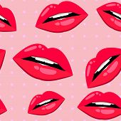 Seamless lips pattern over pink