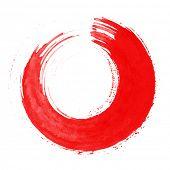 Round red brush stroke