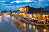 The most famous floating market beautiful evening