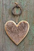 wooden heart on tree