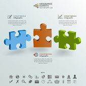 Three Pieces Of Puzzle Infographic Background