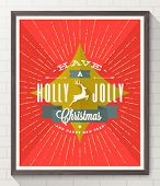 Type Christmas design with deer and sunburst rays - flat style poster in wooden frame on white brick wall. Vector illustration