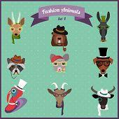 Fashion Hipster Animals set 4