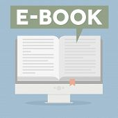 minimalistic illustration of a monitor with an open book and speech bubble saying ebook, eps10 vector