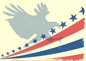 detailed illustration of a bald eagle silhouette in front of a grungy stars and stripes backbround, eps 10 vector