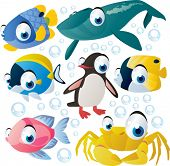 vector cartoon sea animal set: fish, whale, penguin, crab