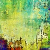 Old texture background with delicate abstract elements. With yellow, green, blue patterns
