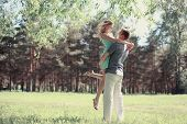 Tender Photo Lovely Young Happy Couple In Love, Walking In Spring Sunny Day, Handsome Man Holding Hi