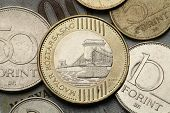 Coins of Hungary. Szechenyi Chain Bridge over the River Danube in Budapest depicted in the Hungarian two hundred forint coin.