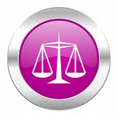 justice violet circle chrome web icon isolated