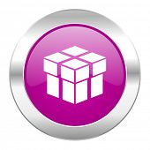 box violet circle chrome web icon isolated